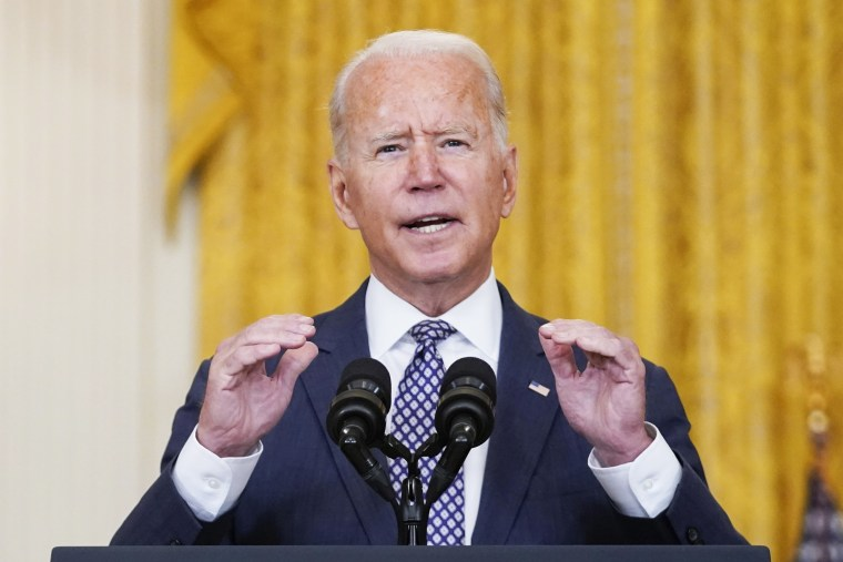 President Joe Biden speaks about the evacuation of American citizens, their families, SIV applicants and vulnerable Afghans at the White House on Aug. 20, 2021.