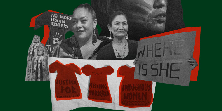 Illustration of signs and people from missing and murdered Indigenous women protests, Abigail Echo-Hawk, and U.S. Secretary of Interior Deb Haaland.