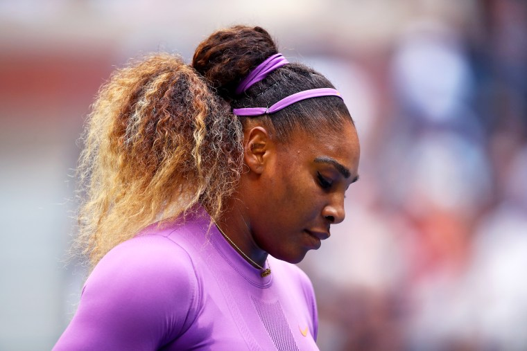 Serena Williams reacts during her Women's Singles final match against Bianca Andreescu at the U.S. Open in Queens, N.Y., on Sept. 7, 2019.
