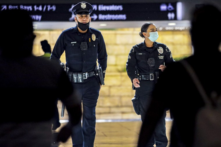 LAPD officers being under an order to wear masks.