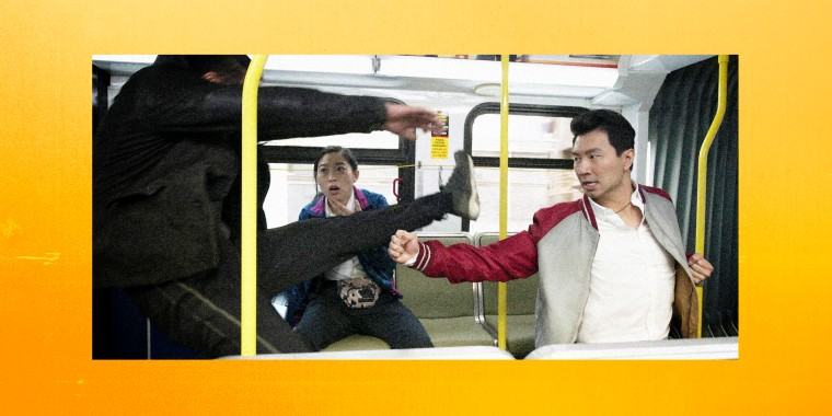 "Image: Awkwafina and Simu Liu in \""Shang Chi.\"""
