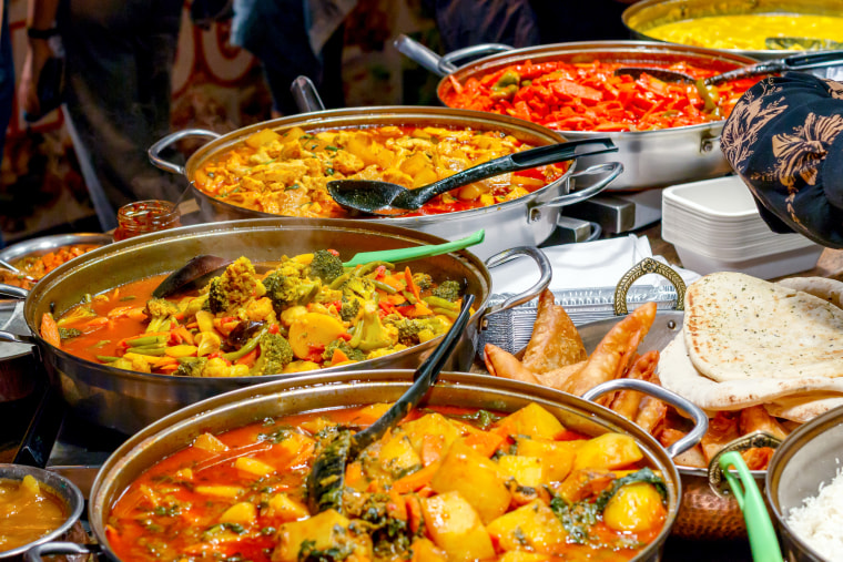 Curries on display at Camden Market in London