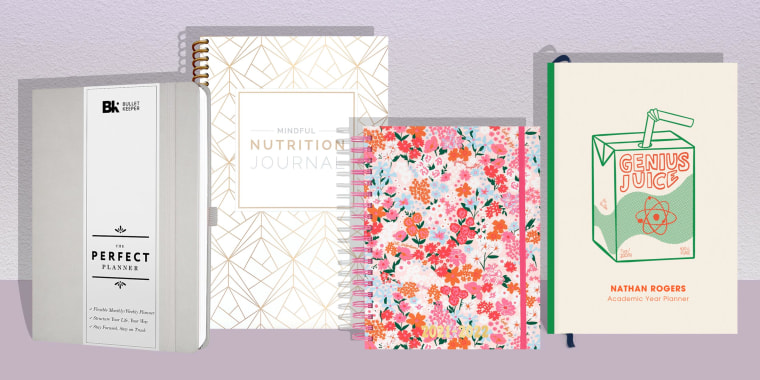Illustration of four different styles, colors and shapes of everyday planners