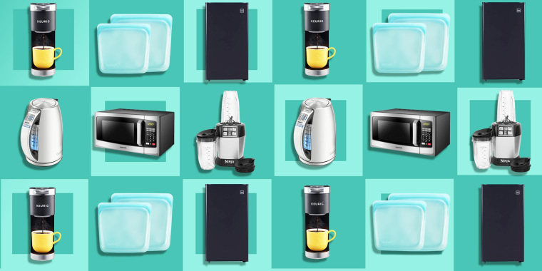 Illustration of a RCA Mini Refrigerator,  Keurig K-Mini Plus Coffee Maker, Cuisinart PerfecTemp Stainless Steel Electric Kettle, Ninja BL480D Blender, Stasher Reusable Storage Bag and Toshiba Microwave Oven