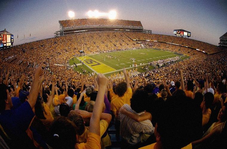 Image: The Louisiana State University Tiger Stadium in Baton Rouge, La., in 2008.