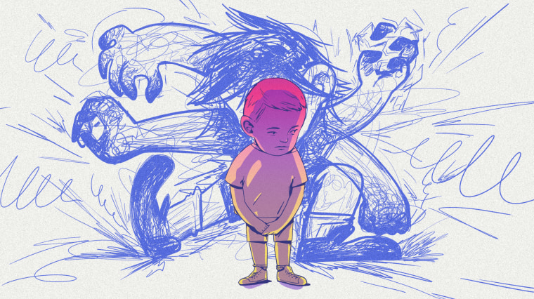 Illustration of a small, sad child being overshadowed by a larger, angry child bully.