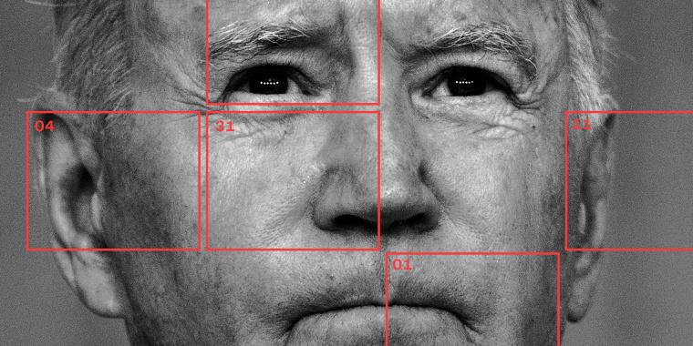 """Photo illustration: Red squares with dates over a close up shot of Joe Biden. The dates read, \""""04,31,11,01\""""."""