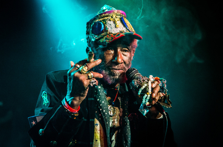 Jamaican reggae musician, singer and producer Lee 'Scratch' Perry performs in Zaandam, Netherlands, on April 8, 2018.