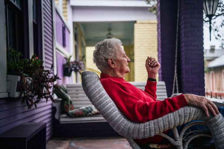 Ray Cronk, 84, sits on his porch ahead of Hurricane Ida on Aug. 29, 2021 in New Orleans, La.