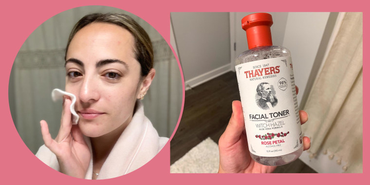 Writer Danielle Murphy in two images using Thayers Facia Toner