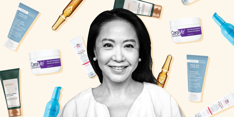 Illustration of a 60 year old Woman smiling and skin care products raining down behind her