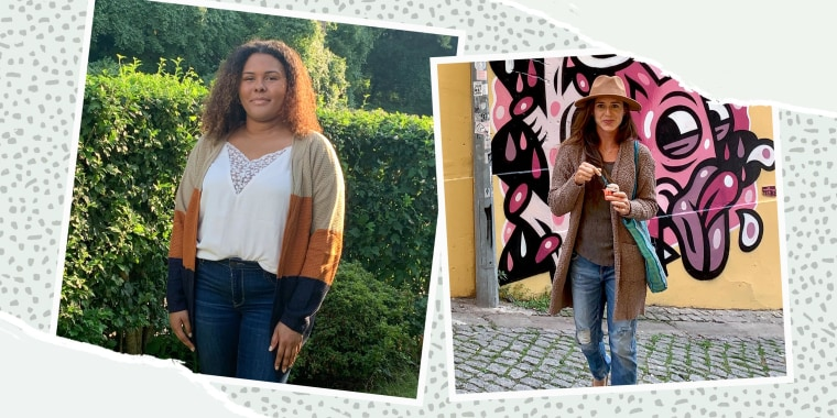 Writers Kamari Stewart and Katie Jackson wearing different styles of bestselling Amazon cardigans