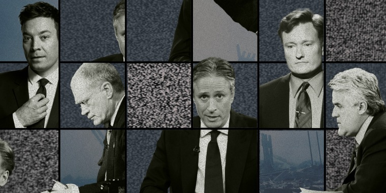 Collage of male TV hosts with TV noise