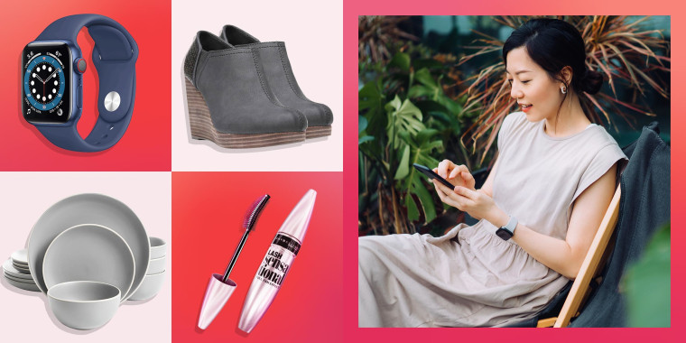 Illustration of a Woman shopping on her phone, Maybelline Lash Sensational Mascara, Dr. Scholl's Women's Harlow Ankle Boot, Gibson Home Rockaway 12-Piece Dinnerware Set and the Apple Watch Series 6 in red