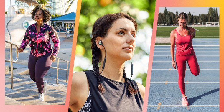 Three woman wearing workout gear, working out outside