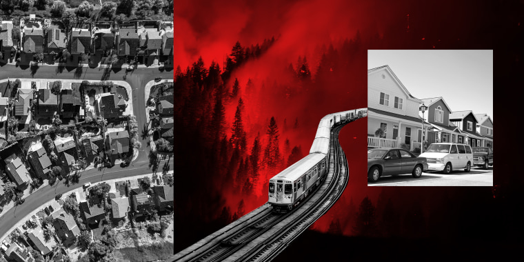 Photo illustration: Images of an aerial shot of suburban homes, a wildfire, car parked outside homes and a commuter train moving on an elevated track from right to left.