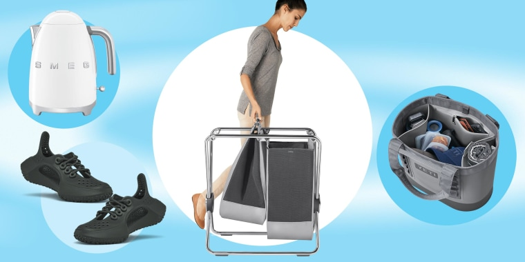 Illustration of a White Smeg kettle, new Sugar Rover Allbirds, Woman with a X-Frame Laundry Hamper and a Yeti Camino 2.0 bag filled with items