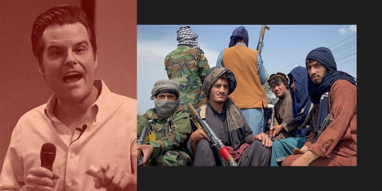 Photo illustration: Matt Gaetz; Taliban fighters.