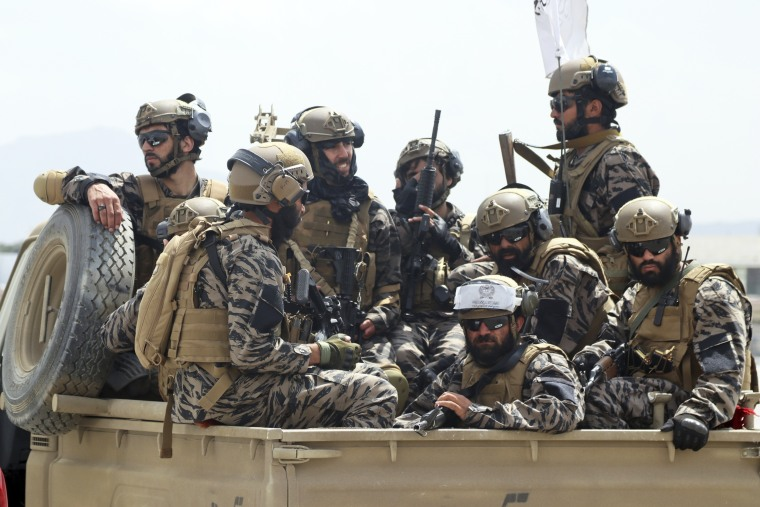 Taliban special forces fighters arrive inside the Hamid Karzai International Airport after the U.S. military's withdrawal in Kabul on Aug. 31, 2021.