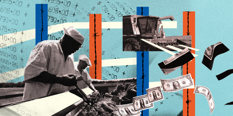 Photo illustration: People working in the fields as dollar bills fly away from them.