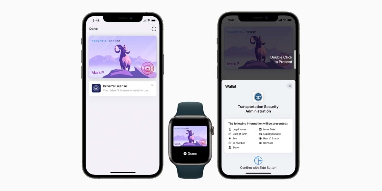 Driver's licenses and state IDs in Apple Wallet provide an easy, fast, and more secure way for people to present their driver's license or state ID from their iPhone or Apple Watch.