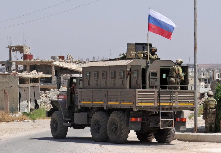 Image: Russian troops in the Syrian district of Daraa al-Balad in Syria's southern province of Daraa, on Sept. 1, 2021.