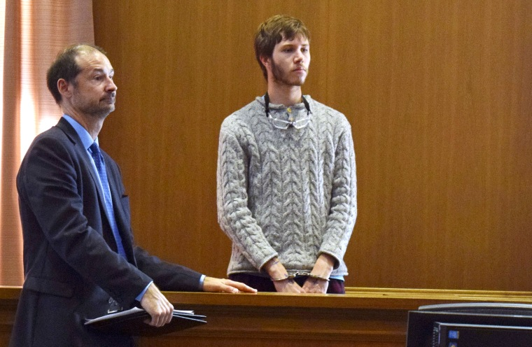 Orion Krause stands with his attorney Edward Wayland, at a competency hearing in Ayer District Court, Friday, Oct. 20, 2017 in Ayer, Mass.