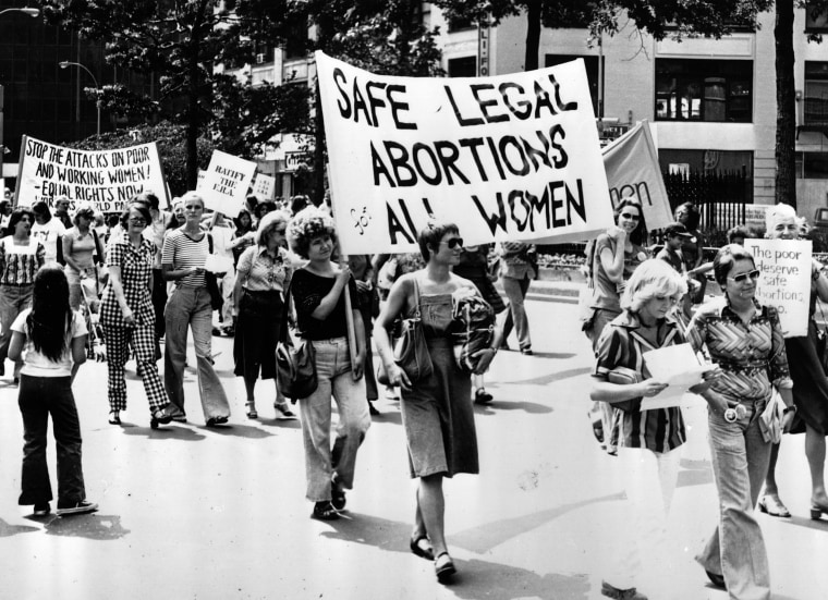 Women take part in a demonstration in New York demanding safe legal abortions for all women in 1977.