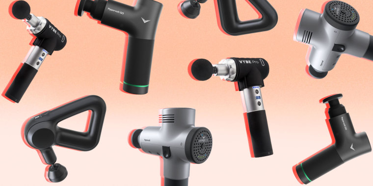 Illustration of different brands and types of massage guns