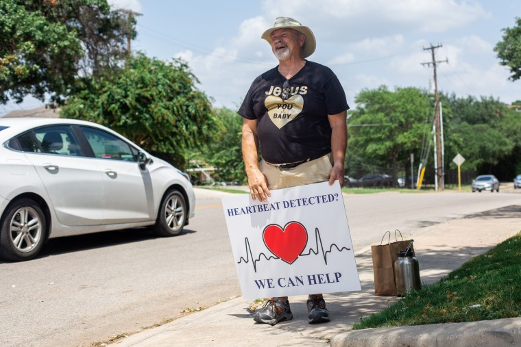 Scott King, a volunteer with The San Antonio Coalition for Life, stands outside Alamo Women's Reproductive Services, an abortion clinic in San Antonio, on Sept. 2, 2021.