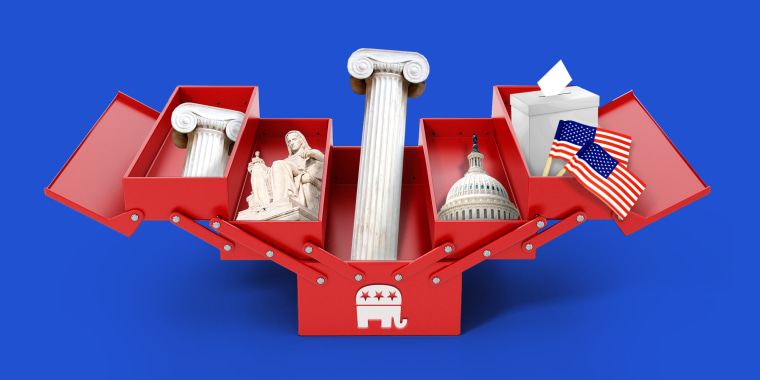 Photo illustration: A red open toolbox with the Republican party symbol holds pieces of Greek pillars, the Contemplation of Justice statue, the Capitol dome, a ballot box and two American flags.