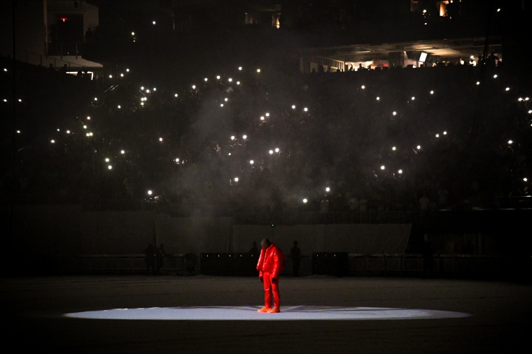 """Image: Kanye West at a listening event for his new album, \""""Donda,\"""" in Atlanta, Ga., on July 22, 2021."""