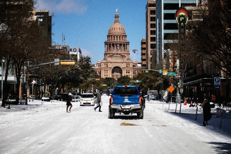 Image: The Texas Capitol surrounded by snow after a winter storm in Austin on Feb. 15, 2021.
