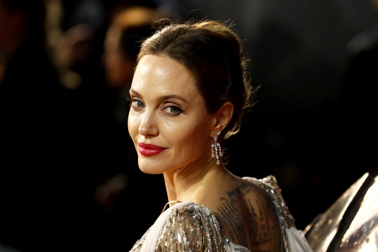"""Angelina Jolie attends the European premiere of \""""Maleficent: Mistress of Evil\"""" in London on Oct. 9, 2019."""