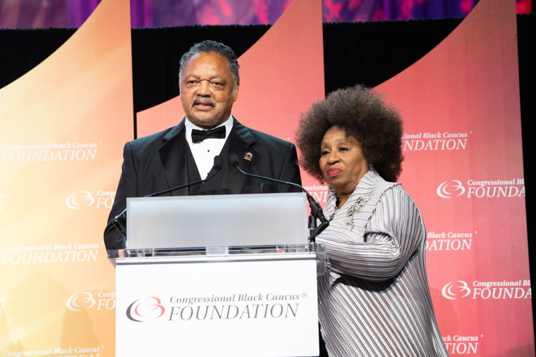 Jesse Jackson and his wife Jacqueline Brown attend the Phoenix Dinner for the 48th Annual Congressional Black Caucus Foundation on Sept. 15, 2018, in Washington.