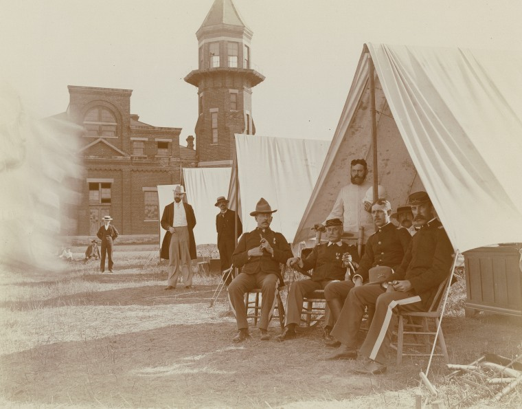 Troops sit outside their tents during the Pullman Railroad Strike in Chicago in 1894.
