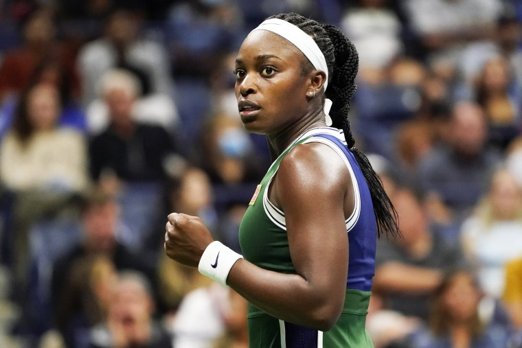 Sloane Stephens reacts to a shot against Coco Gauff during the second round of the U.S. Open tennis championships on Sept. 1, 2021, in New York.