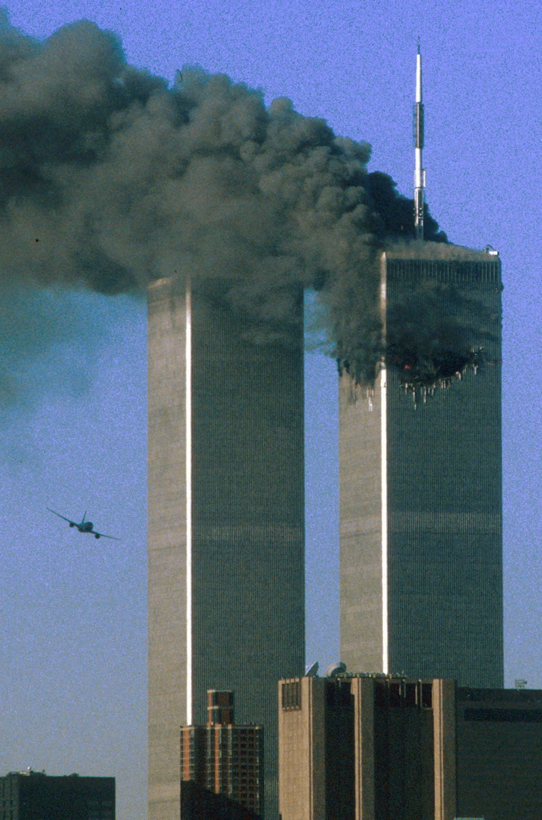 On Sept. 11, 2001, hijackers caught U.S. authorities by surprise with a bold attack on New York City's World Trade Center. At 8:46 a.m., American Airlines Flight 11 carrying 92 people, speared into the 110-story north tower. At 9:03 a.m., United Airlines Flight 175, shown here, carrying 65 people, crashed into the 84th floor of the south tower.