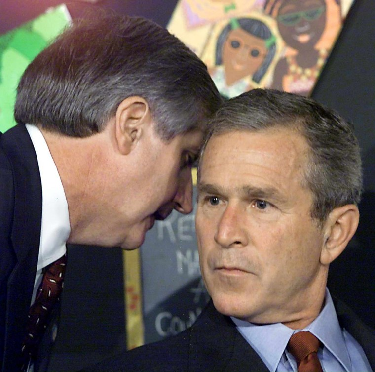 President Bush is interrupted at 9:07 a.m. during a school visit in Sarasota, Fla., by Andrew Card, his chief of staff, and informed that a second plane had hit the World Trade Center.