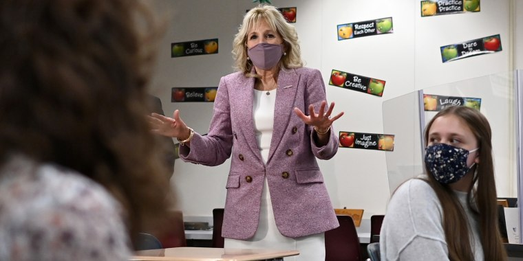 Jill Biden speaks with students as she tours Fort LeBoeuf Middle School in Waterford, Pa. on March 3, 2021.