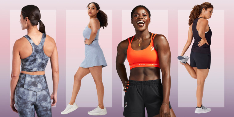 Illustration of four different Women wearing activewear from four different brands