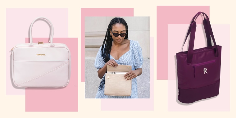 Image of the Corkcicle Baldwin Boxer Lunchbox, a Woman holding the Modern Picnic The Luncher outside and the Hydro Flask 8L Lunch Tote in purple