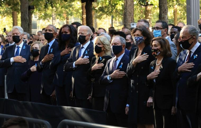 Joe Biden, Jill Biden, Barack Obama, Michelle Obama, Bill Clinton, Hillary Clinton, Michael Bloomberg attend the memorial.