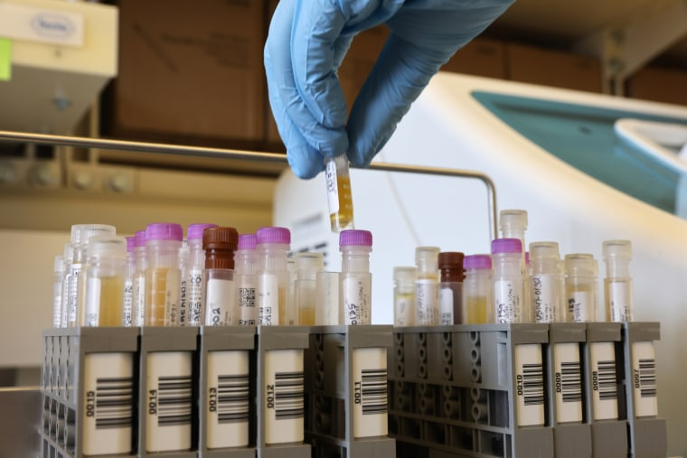 Researchers work on samples from the Novavax phase 3 Covid-19 clinical vaccine trials at the UW Medicine Retrovirology Lab at Harborview Medical Center in Seattle on Feb. 12, 2021.