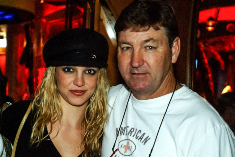 Britney Spears with her father Jamie Spears at Planet Hollywood, Las Vegas on Nov. 16, 2001.
