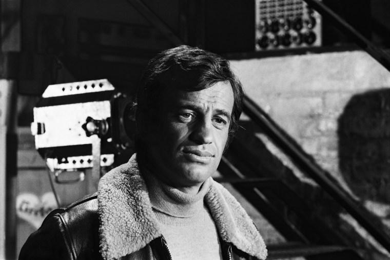 French actor Jean-Paul Belmondo on the set of The Burglars in 1971.