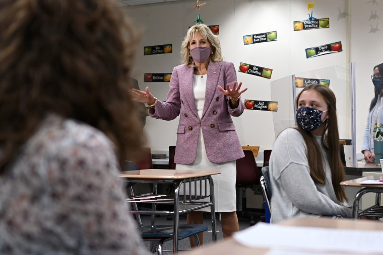 First Lady Jill Biden speaks with students as she tours Fort LeBoeuf Middle School in Waterford, Pa., on March 3, 2021.