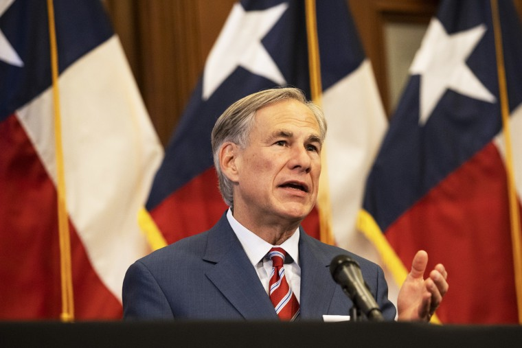 Texas Gov. Greg Abbott announces the reopening of more Texas businesses in Austin on May 18, 2020.