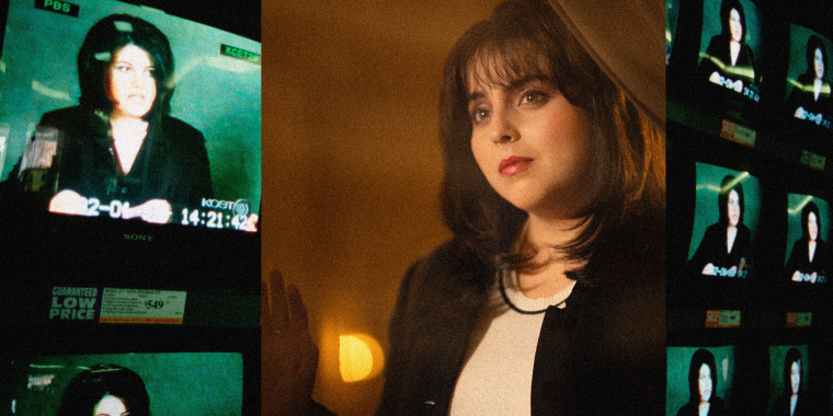 Image of Beanie Fieldstein as Monica Lewinsky as Monica Lewinsky on American Crime Story: Impeachment juxtaposed over an archival image of TV screens showing Monica Lewinsky.