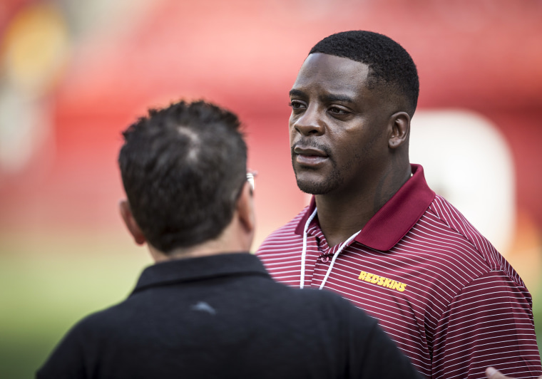 Former Washington Football Team running back Clinton Portis on the sidelines prior to an NFL preseason game on Aug. 15, 2019, at FedEx Field in Landover, Md.